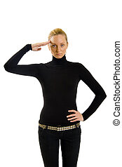 attractive girl in black saluting to camera