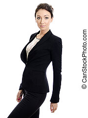 Attractive girl in black suit. Over white background.