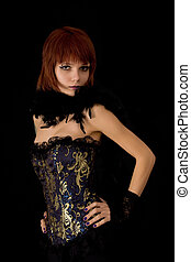 Attractive girl in blue corset