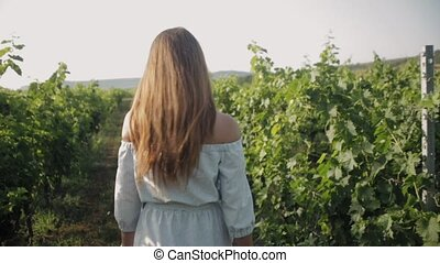 Attractive girl in the dress walking along the vineyard