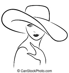 Attractive girl in wide-brimmed hat - Attractive graceful...