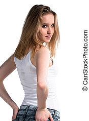 Attractive girl looks backward