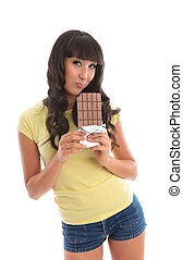 Attractive girl loving chocolate
