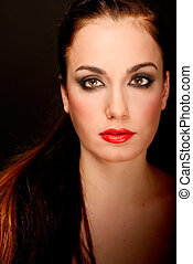 Attractive girl. Make up. Perfect skin - Portrait of ...
