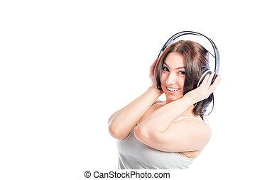 attractive girl of 30 years in headphones