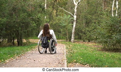 Attractive girl on a wheelchair walking in the autumn park. Disabled leisure