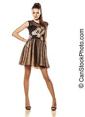 evening dress - attractive girl posing in short evening ...