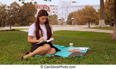 attractive girl reads novel outdoors - happy student or...