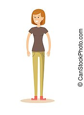 attractive girl . Stock flat vector illustration