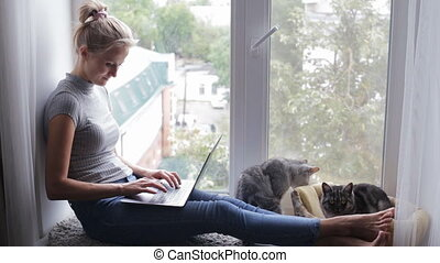 Attractive girl using laptop sitting on a window sill at home with cats