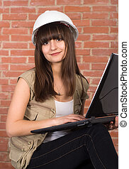 attractive girl with a laptop