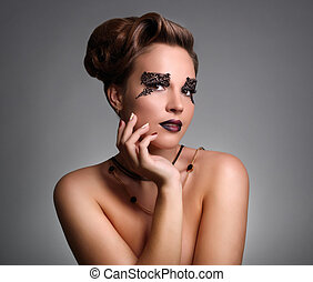 Attractive girl with beautiful makeup