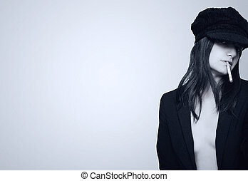 Attractive girl with cigarette
