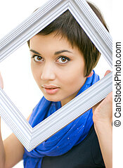 attractive girl with frame