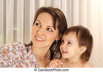 Attractive girl with mom