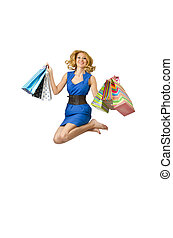Attractive girl with shopping bags