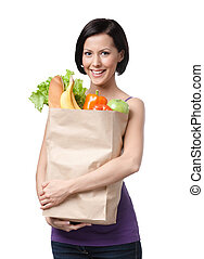 Attractive girl with the packet of fruit and vegetables,...