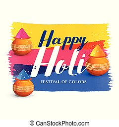 attractive happy holi festival greeting background