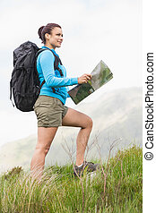 Attractive hiker with backpack