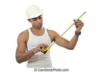 Attractive hispanic african american industrial worker man