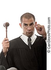 Attractive hispanic african american judge holding gavel