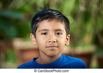 Attractive hispanic boy portrait