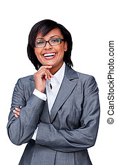 Attractive hispanic businesswoman wearing glasses