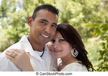 Attractive Hispanic Couple in the Park - Attractive Hispanic...