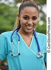 Attractive Hispanic Female Nurse