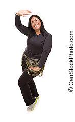 Attractive Hispanic Woman Dancing Zumba on White