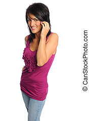 attractive hispanic woman in bright shirt