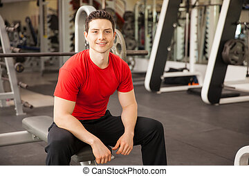 Attractive Hispanic young man at a gym