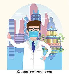 Hong Kong skyline harbour background and Doctor wearing a medical mask