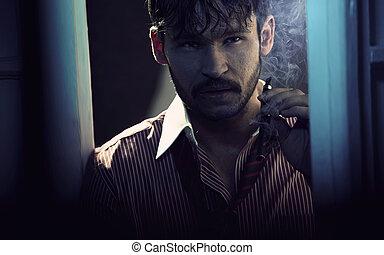 Attractive husband with cuban cigar