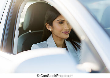 indian businesswoman drive to work