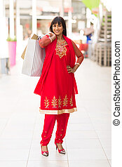 indian shopper in shopping mall
