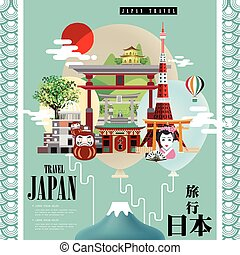 attractive Japan travel poster design - Japan travel in...