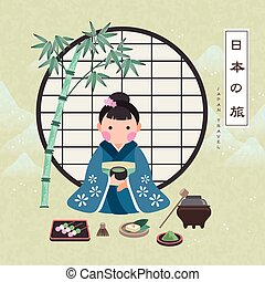 attractive Japan travel poster with tea ceremony - Japan...