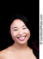 Attractive Japanese American Woman Smiling Portrait Dark Background