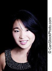 Pretty Japanese American Woman Portrait With Dark Background