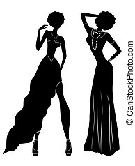 Attractive ladies silhouettes - Attractive slender ladies in...