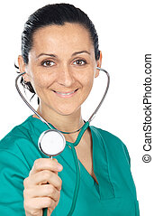 Attractive lady doctor  (focus in the face)