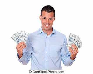 Attractive latin man holding his money