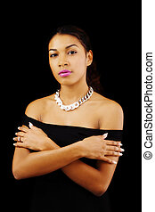 Attractive Latina Woman Bare Shoulders Arms Crossed