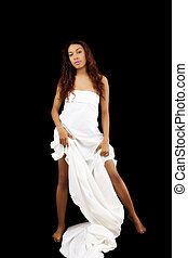 Attractive Latina Woman Showing Legs White Sheet