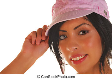 Attractive latino woman tipping her hat