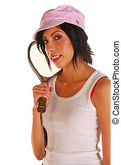 Attractive latino woman with racquetball racquet