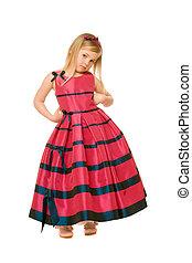 blond girl in a long dress