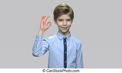 Attractive little boy giving ok sign. Handsome smiling child gesturing okay with fingers on gray background.