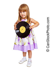 Attractive little girl holding vinyl record